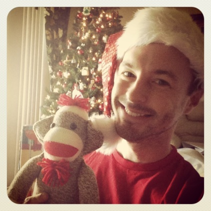 Me with my new sock monkey friend
